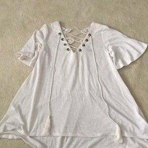 White detailed blouse